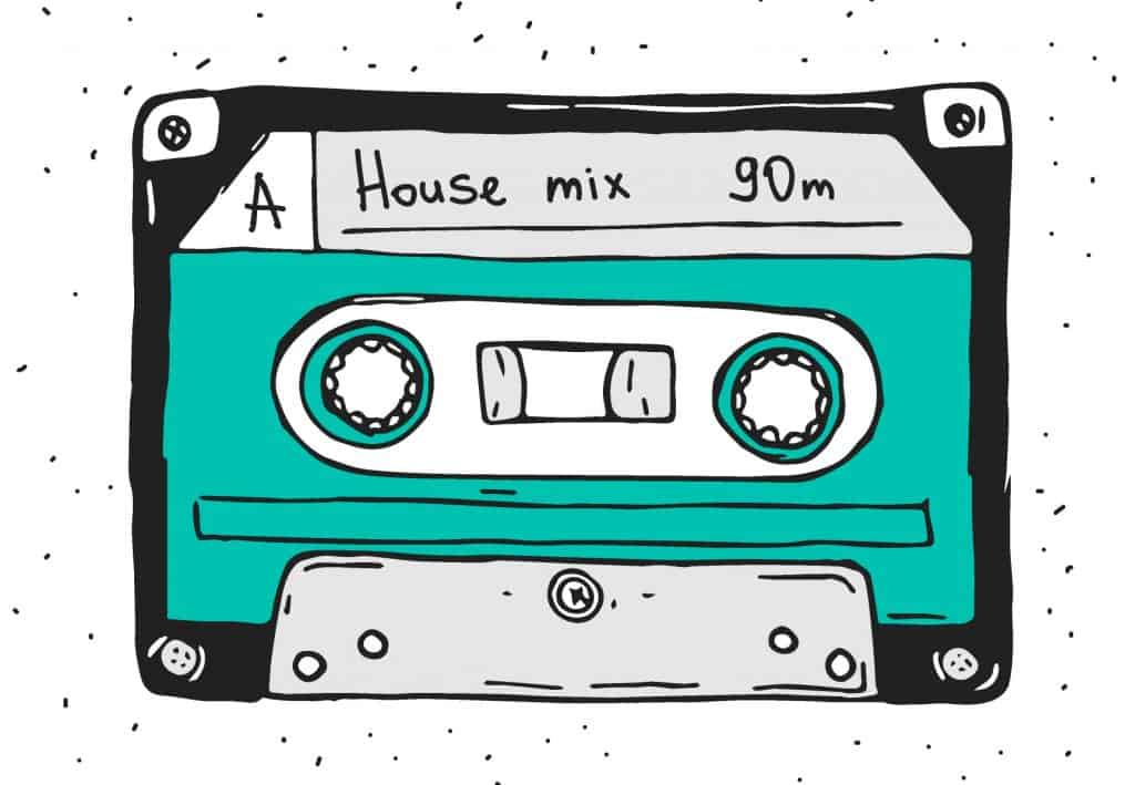 Set of plastic cassette, audio tape with different music, Hand drawn retro illustration.